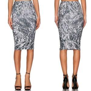 Alexander McQueen Silver Foil Print Skirt Size XS